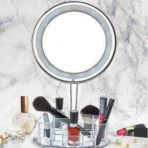 LED Vanity Light Mirror & Cosmetic Organizer Base